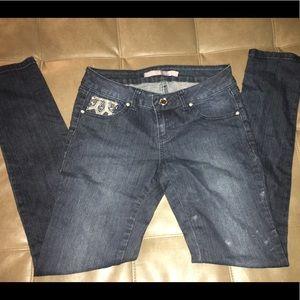 Skinny jeans with rhinestones.